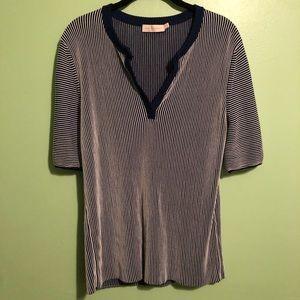 Tory Burch | Textured tee | Buttoned collar | XL
